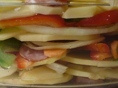 Warstwy zapiekanki z ziemniakami