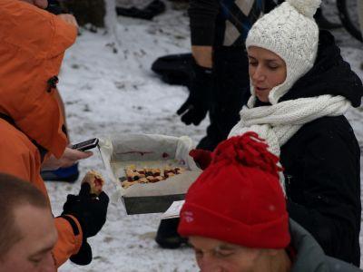 Poczęstunek morsów ciastem ucieranym z owocami